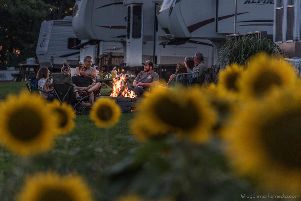 Sunflowers and family sitting around campfire