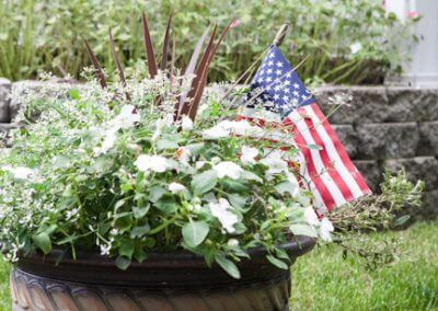 flower pot with american flag