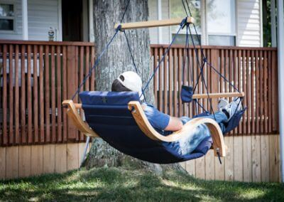 Person Sleeping in Hammock chair